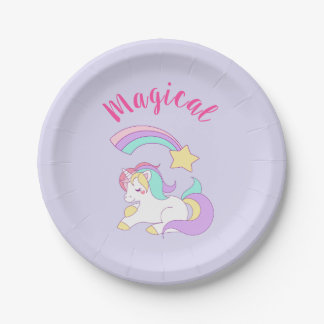 Magical Unicorn with Rainbow Shooting Star Paper Plate