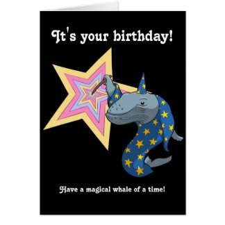 Magical Whale of a Time Wizard Whale Cartoon Card