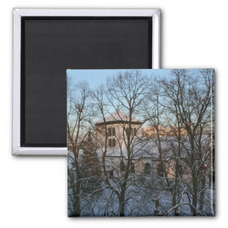 Magical Winter Church Square Magnet