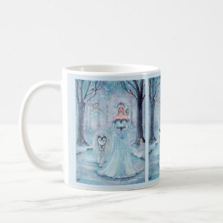 Magical winter queen with lion coffee mug by Renee