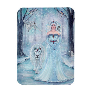 Magical winter queen with lion magnet by Renee