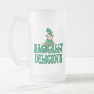 Magically Delicious Little Leprechaun Frosted Glass Beer Mug