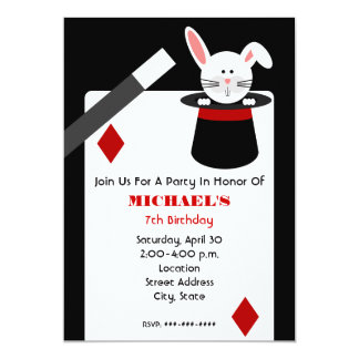 Magician Birthday - Rabbit in Hat & Playing Card 13 Cm X 18 Cm Invitation Card