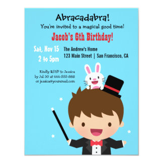 Magician Boy Kids Magic Birthday Party 11 Cm X 14 Cm Invitation Card