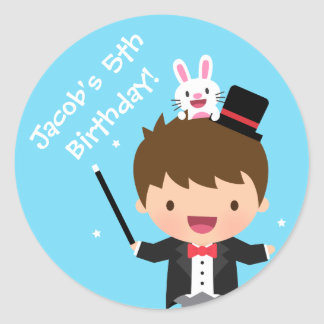 Magician Boy Kids Magic Birthday Party Classic Round Sticker