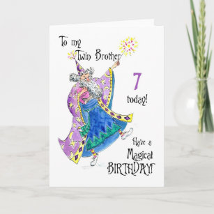 Magician Fun 7th Birthday Card For A Twin Brother