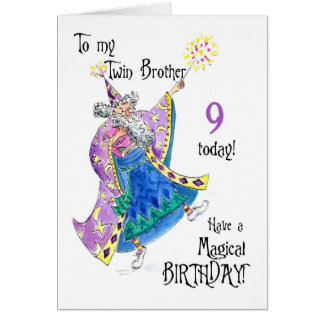 Magician Fun 9th Birthday Card for a Twin Brother