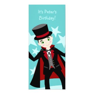 Magician kid birthday party 10 cm x 24 cm invitation card