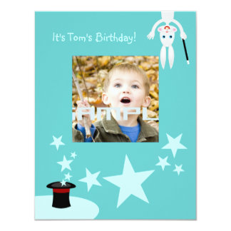 Magician kid birthday party 11 cm x 14 cm invitation card