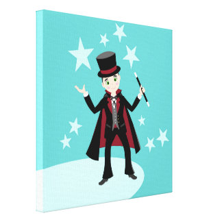Magician kid birthday party canvas print