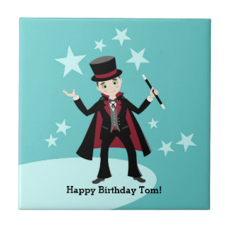 Magician kid birthday party small square tile
