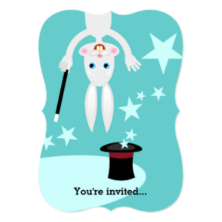 Magician kids birthday party 13 cm x 18 cm invitation card