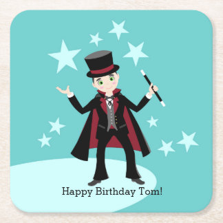 Magician kids birthday party square paper coaster