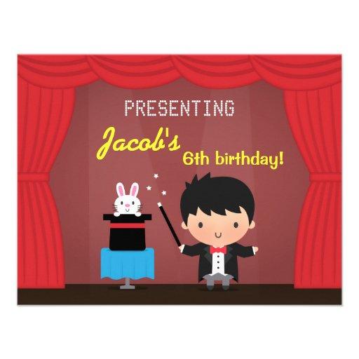 Magician Kids Magic Birthday Party Invitations
