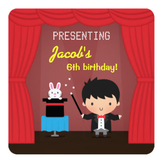 Magician Kids Magic Birthday Party Invitations