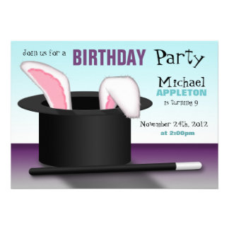 Magician s Hat - Kids Birthday Party Invitations