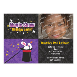Magician s Rabbit Birthday Party Custom Invitation