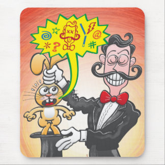 Magician's bunny feeling mad and saying bad words mouse pad