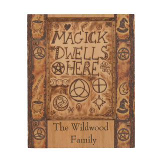 Magick Dwells Here Pentacle Triquetra Triskele Wood Print