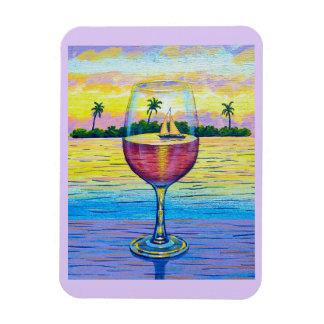 Magnet,  A Glass of Wine, a World Away Rectangular Photo Magnet