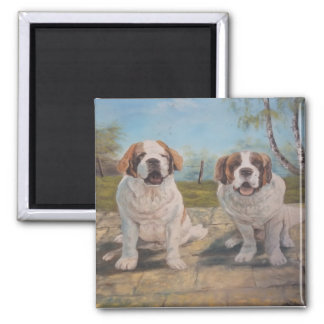 Magnet Ann Hayes Painting Two St Bernards