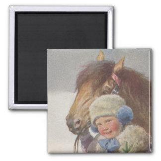 MAGNET Antique Art Childhood Dream Child Bay Pony