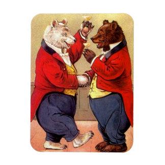 Magnet Antique Bears Celebrate Toast & Hand Shake
