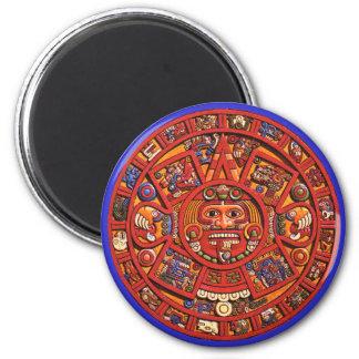 Magnet: Aztec sun stone 6 Cm Round Magnet