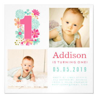 |MAGNET| Babies Number 1 1st Birthday Photo Card Magnetic Invitations