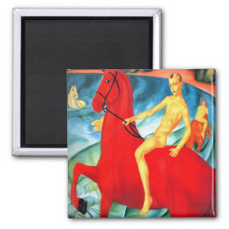 "Magnet: ""Bathing the Red Horse"" Square Magnet"