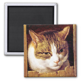 "Magnet: ""Cat Peeping Through A Fence"" Square Magnet"
