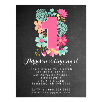 |MAGNET| Chalkboard Girls 1st Birthday Party Magnetic Invitations