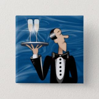 Magnet-Coctail Waiter 15 Cm Square Badge