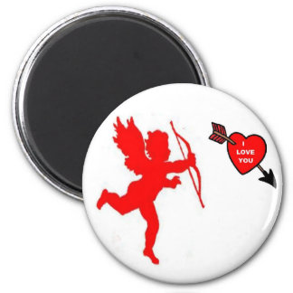 Magnet Cupid and Heart Red
