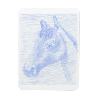 Magnet drawing of blue and white horse
