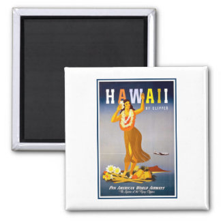 Magnet-Hawaii Vintage Advertisement Square Magnet