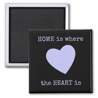 Magnet Home is where the heart is Black & Lilac