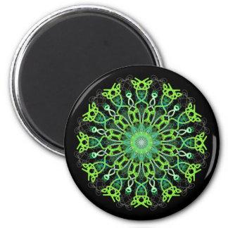 magnet, kaleidoscope, snowflake, prints 6 cm round magnet