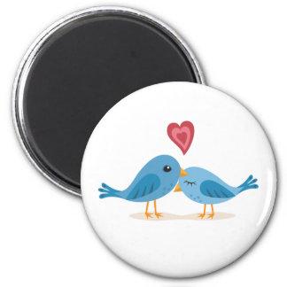 Magnet: Lovebirds 6 Cm Round Magnet