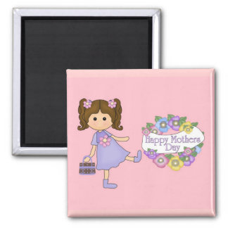 Magnet Mothers Day Wishes Flowers Little Girl Magnets