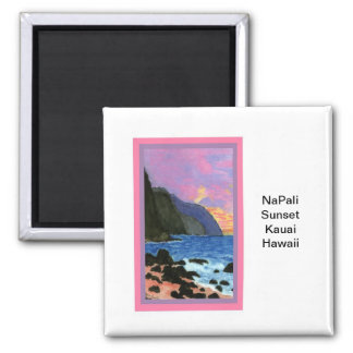 Magnet-NaPali Sunset, Kauai, Hawaii Square Magnet