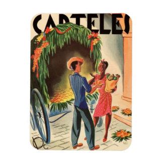 Magnet of Refrigerator Vintage Cuba Poster Illustr