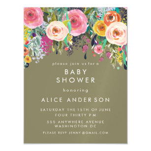 Magnetic invitations announcements zazzle au magnet painted floral baby shower invite filmwisefo