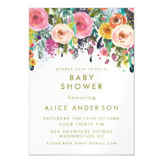 |MAGNET| Painted Floral Baby Shower Invite Magnetic Invitations