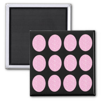 Magnet Pink Glitter Circles On Black Refrigerator Magnets