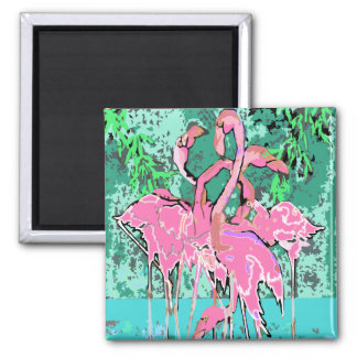 Magnet - Retro Abstract Flock of Pink Flamingos