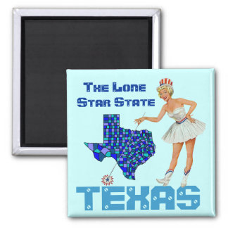 Magnet RETRO Lone Star State Red White Blue Texas