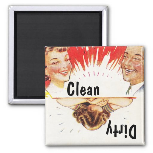 Magnet ~ Vintage Retro Fun Clean Dirty Dishwasher