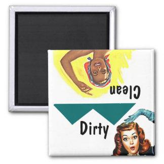 Magnet ~ Vintage Retro Fun Clean Dirty Dishwasher