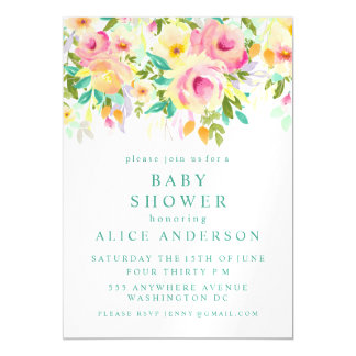 |MAGNET| Watercolor Floral Baby Shower Invite Magnetic Invitations